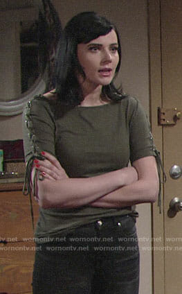 Tessa's green top with lace-up sleeves on The Young and the Restless