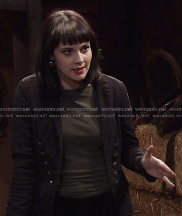 Tessa's black blazer with silver buttons on The Young and the Restless