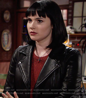 Tessa's red metallic top and leather jacket on The Young and the Restless