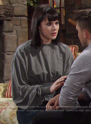 Tessa's grey smocked waist sweatshirt on The Young and the Restless