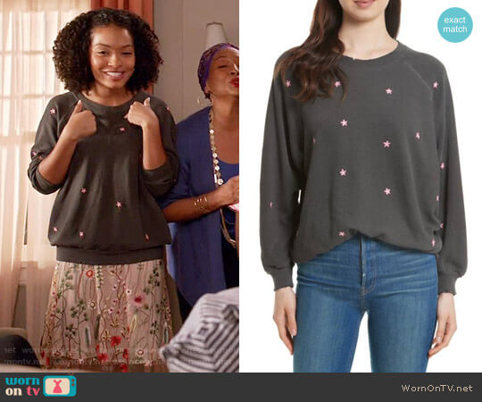 The Great The Embroidered Bubble Sweatshirt worn by Yara Shahidi on Blackish