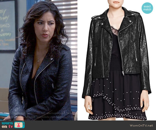 The Kooples Waxed Lace Moto Jacket worn by Rosa Diaz (Stephanie Beatriz) on Brooklyn Nine-Nine