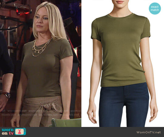 Theory Rodiona Top worn by Sharon Case on The Young & the Restless