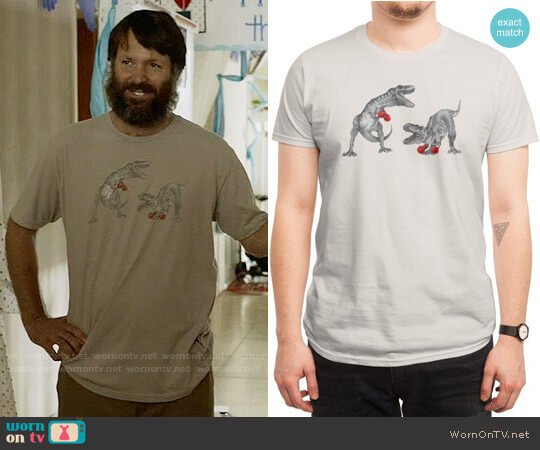 Threadless T-Rex Boxing T-shirt worn by Will Forte on Last Man On Earth