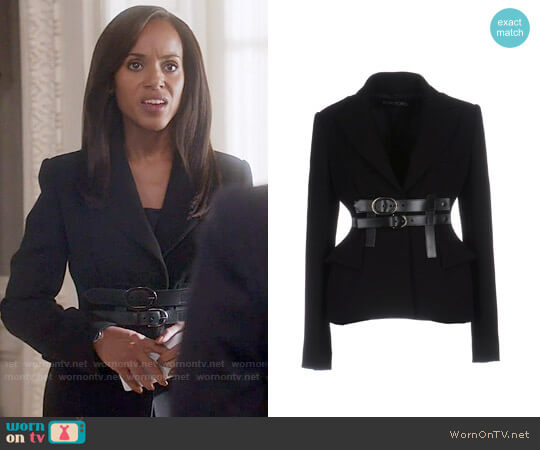 Tom Ford Belted Blazer worn by Kerry Washington on Scandal