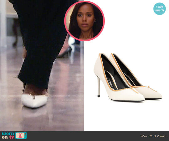 Tom Ford Leather Zip Up Pumps worn by Kerry Washington on Scandal