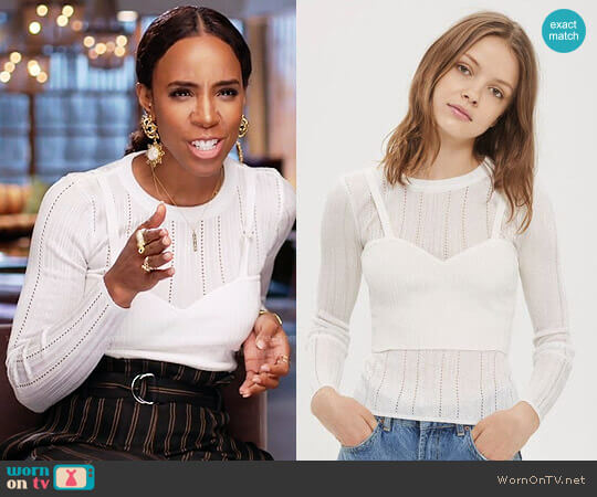 Topshop Corset Pointelle Top worn by Kelly Rowland on The Voice