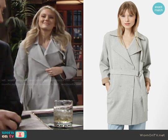 Topshop Double Breasted Trench Coat worn by Abby Newman (Melissa Ordway) on The Young & the Restless