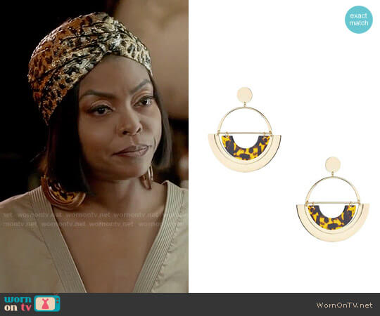 Topshop Oversized Tortoiseshell Semi Circle Earrings worn by Cookie Lyon (Taraji P. Henson) on Empire
