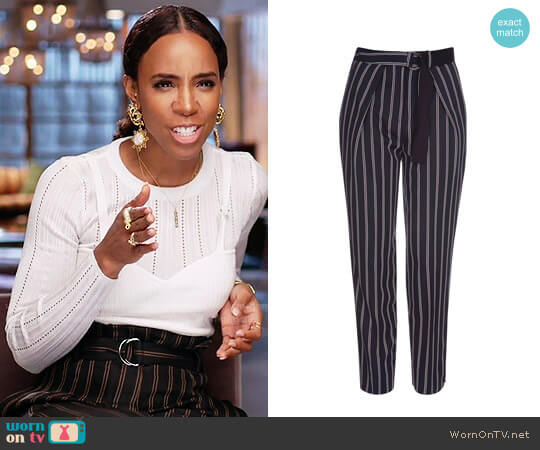 Topshop Striped Belted Peg Trousers worn by Kelly Rowland on The Voice