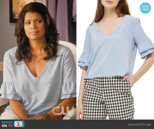 Topshop Tie Back Ruffle Sleeve Top worn by Andrea Navedo on Jane the Virgin