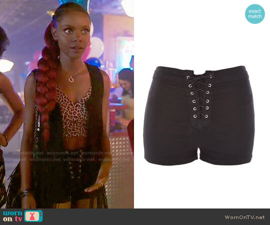 Topshop Lace-Up Joni Shorts worn by Ashleigh Murray on Riverdale