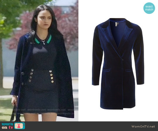 Topshop Velvet Blazer Dress worn by Camila Mendes on Riverdale