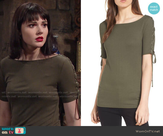 Trouve Lace-Up Sleeve Top worn by Cait Fairbanks on The Young & the Restless