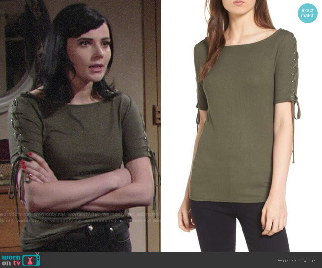 Trouve Lace-Up Sleeve Top worn by Tessa Porter (Cait Fairbanks) on The Young & the Restless