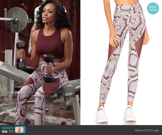 Varley Walnut Leggings in Blush Snake worn by Hilary Curtis (Mishael Morgan) on The Young & the Restless