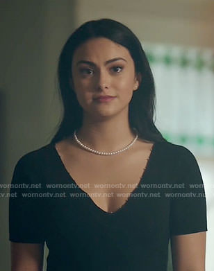 Veronica's black beaded trim top and plaid skirt on Riverdale