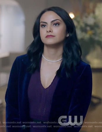 Veronica's purple pointelle v-neck dress on Riverdale