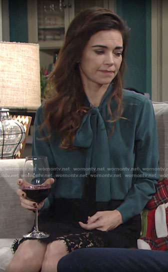 Victoria's green fringed bow neck blouse on The Young and the Restless