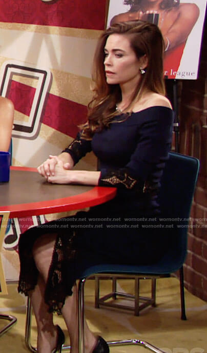 Victoria's navy off-shoulder dress with lace insets on The Young and the Restless