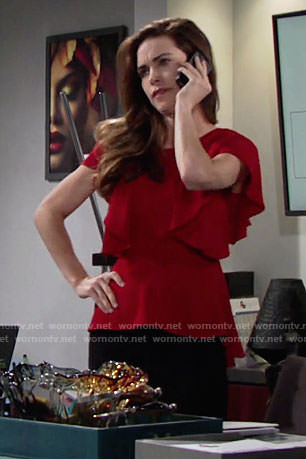 Victoria's red ruffled top on The Young and the Restless