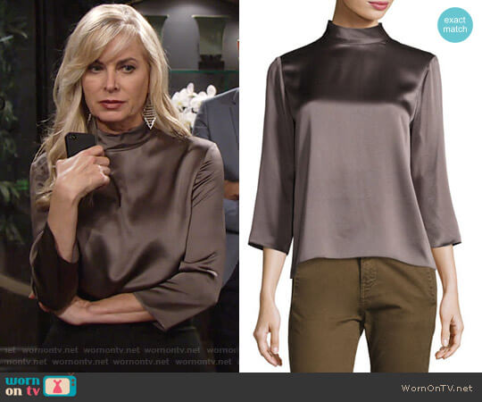 Vince Mock Neck Silk Blouse in Oil worn by Ashley Abbott (Eileen Davidson) on The Young & the Restless