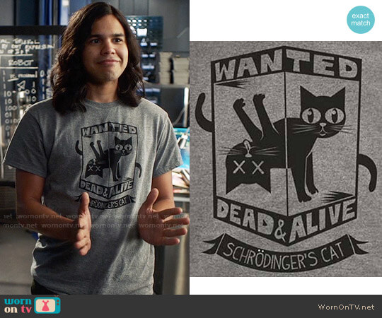 WANTED Schrodinger's Cat T-shirt worn by Carlos Valdes on The Flash