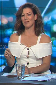 Gorgi's white cold shoulder button front dress on The Project