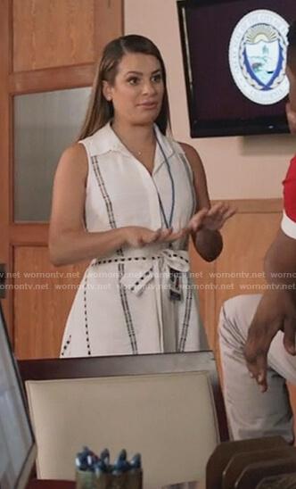 Valentina's white cotton print waist tie dress on The Mayor