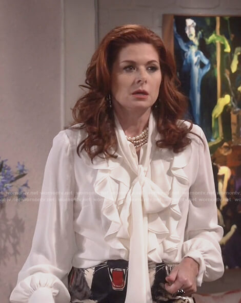 Grace's white ruffle top and tiger print skirt on Will and Grace