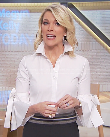 Megyn's white ribbon tie blouse and black midi skirt on Megyn Kelly Today