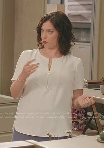 Rebecca's white zip front top on Crazy Ex-Girlfriend