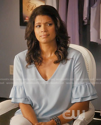 Xiomara's blue ruffle sleeve top on Jane the Virgin