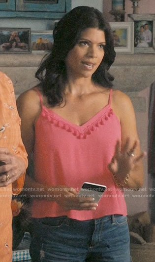 Xiomara's pink pom-pom trim top on Jane the Virgin