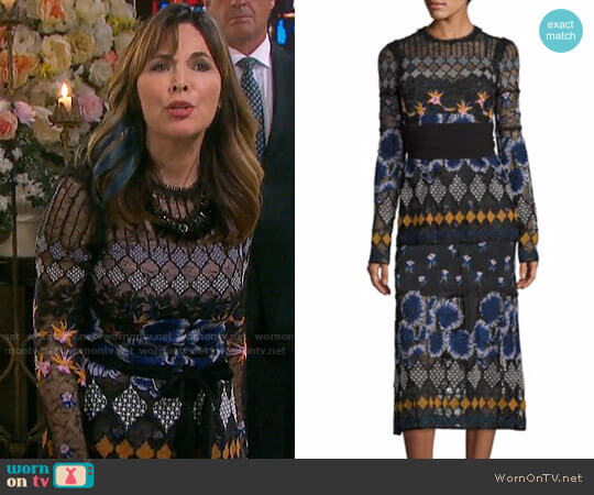 Yigal Azrouel Embroidered Lace Dress worn by Kate Roberts (Lauren Koslow) on Days of our Lives