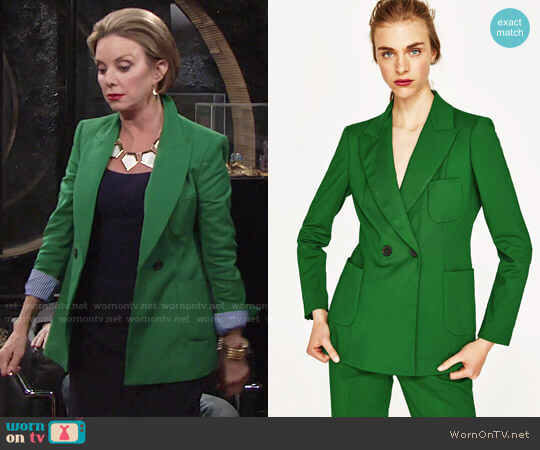 Zara Double Breasted Jacket worn by Gloria Abbott Bardwell (Judith Chapman) on The Young & the Restless