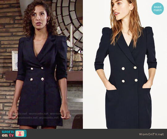 Zara Blazer Dress with Pearl Buttons worn by Christel Khalil on The Young & the Restless