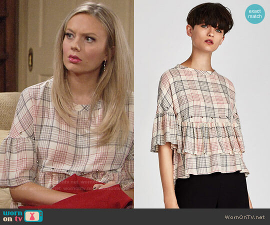Zara Checked Top with Metal Eyelets worn by Melissa Ordway on The Young & the Restless
