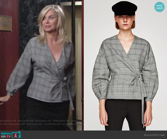 Zara Checked Wrap Blouse worn by Ashley Abbott (Eileen Davidson) on The Young & the Restless