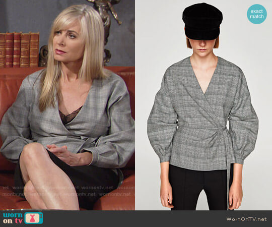 Zara Checked Wrap Blouse worn by Eileen Davidson on The Young & the Restless