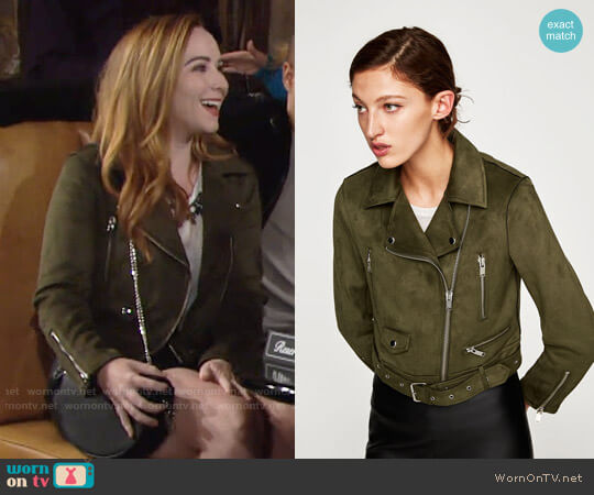 Zara Faux Suede Biker Jacket worn by Camryn Grimes on The Young & the Restless