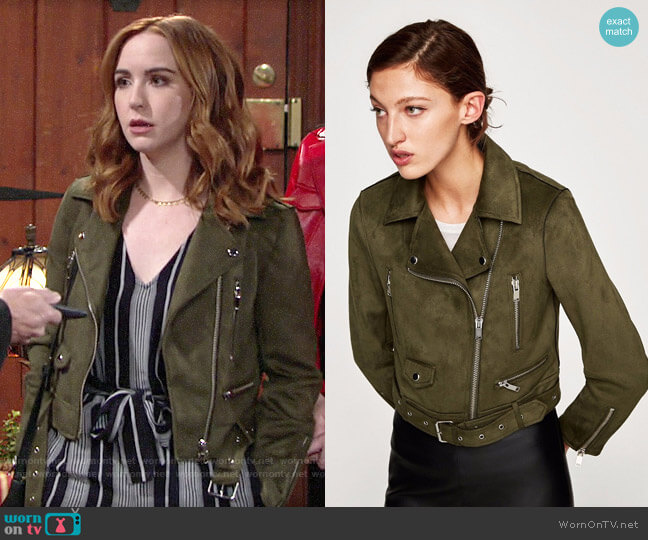 Zara Faux Suede Biker Jacket worn by Mariah Copeland (Camryn Grimes) on The Young & the Restless