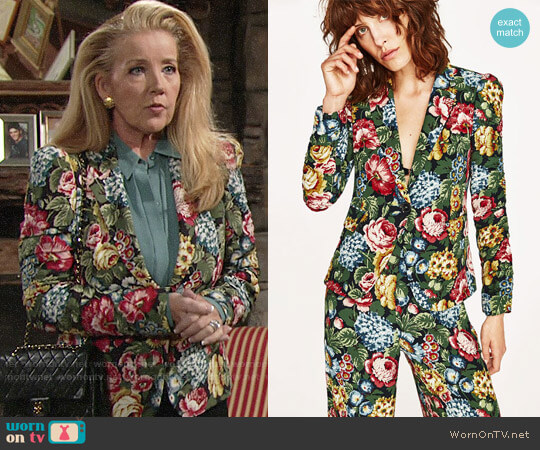 Zara Floral Blazer with Frilled Sleeves worn by Nikki Reed Newman (Melody Thomas-Scott) on The Young & the Restless