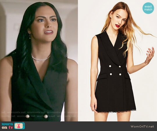 Zara Lace Tuxedo Jumpsuit worn by Veronica Lodge (Camila Mendes) on Riverdale