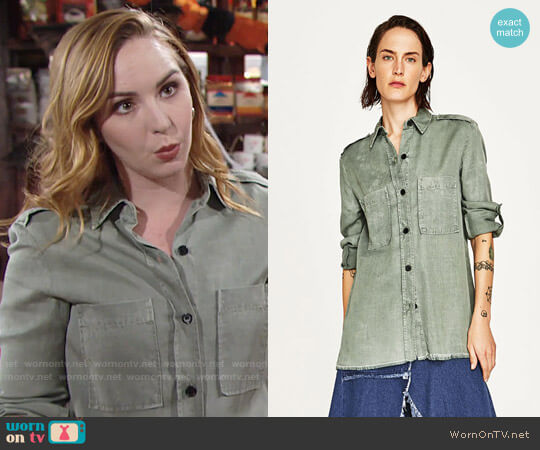 Zara Military Shirt worn by Mariah Copeland (Camryn Grimes) on The Young & the Restless
