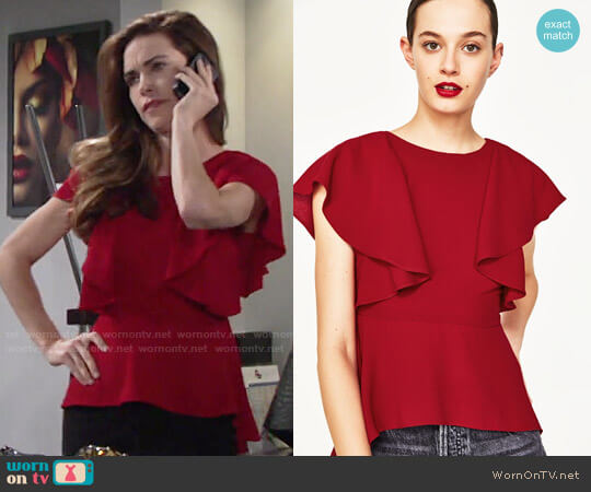Zara Frilled Top worn by Victoria Newman (Amelia Heinle) on The Young & the Restless