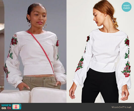 Zara Top with Embroidered Sleeves and Bow in Back worn by Yara Shahidi on Blackish