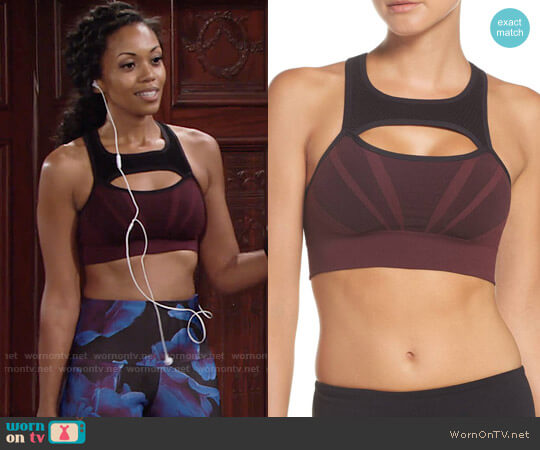 Zella Charge Sports Bra worn by Mishael Morgan on The Young & the Restless