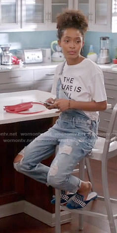 Zoey's 'The Future is still Female' T-shirt and denim overalls on Black-ish