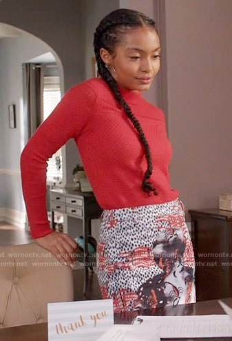 Zoey's red sweater and abstract print skirt on Black-ish